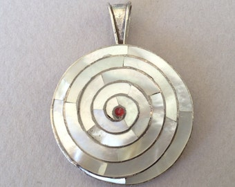 New Price* Spiral of Life Chakana Mother of Pearl Inlay 950 Silver Pendant