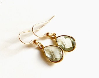 Genuine amethyst drop earrings/ Gold filled earrings/ Classic drop earrings/ Gift earrings / February gemstone/ Light green earrings