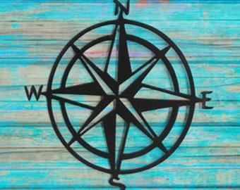 Compass wall art- Metal compass rose