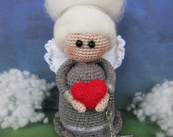 Elegant Angel doll Crochet angel christmas Art dolls Angel gift Angel wings heart angel ornament Christmas angel dolly personalized gift