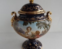 Large calssical scenic urn / vase, F Bouchee, ornate, gilt, French Renaissance style, partially hand painted, vintage reproduction antique