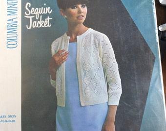 Vintage Columbia Minerva 1960's Sequin Jacket Crochet Kit NOS
