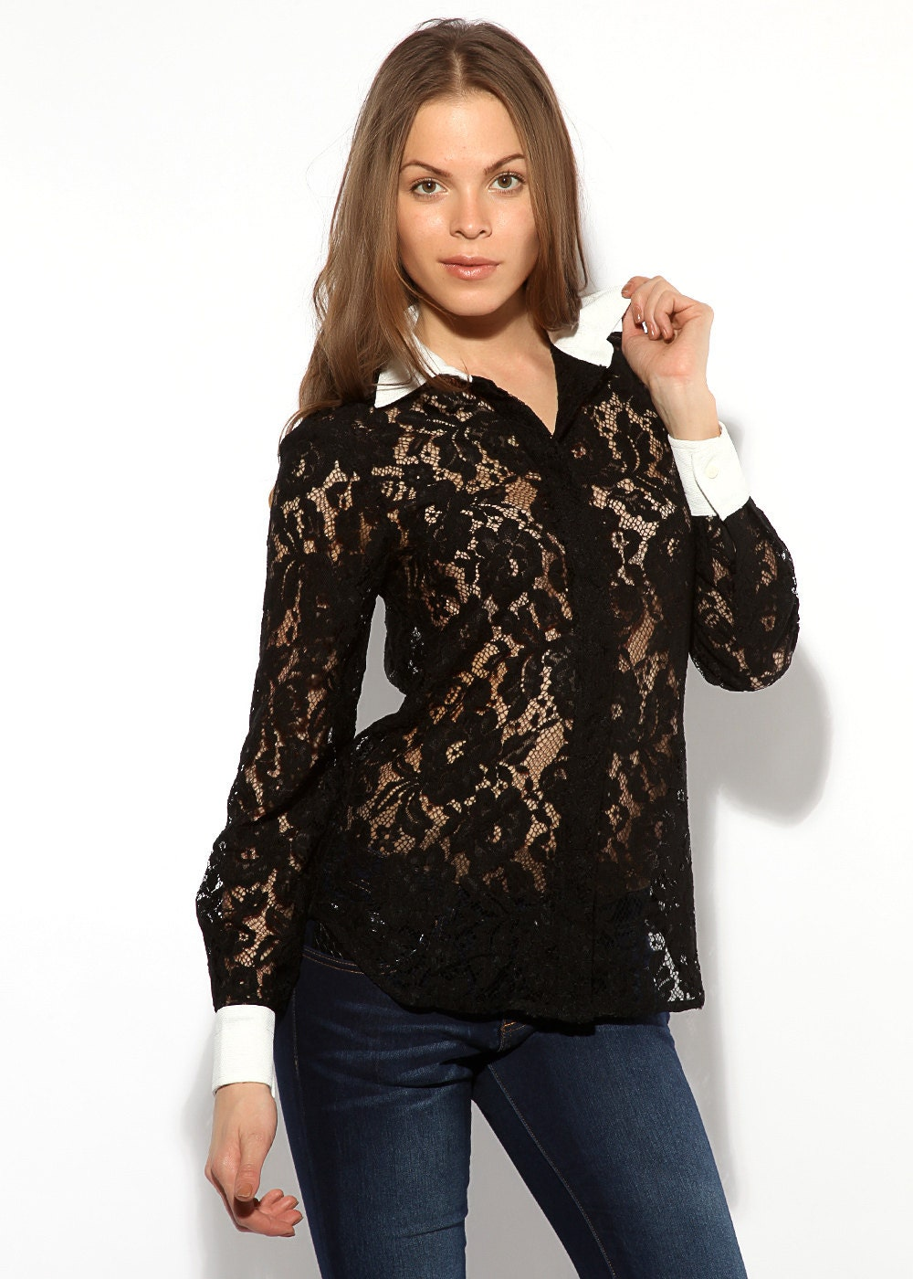 Black lace blouse with white collar Long by AliceBerryFashion