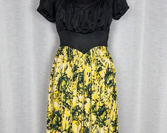 1940's Bright Yellow and Black Floral Print Silky Dress
