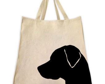 Canvas Tote Bag, Pet Tote Bag, Black Labrador, Gifts for Dog Lovers, Cotton Shopping Handbag, Cute Custom Bags, Made by Tote Tails