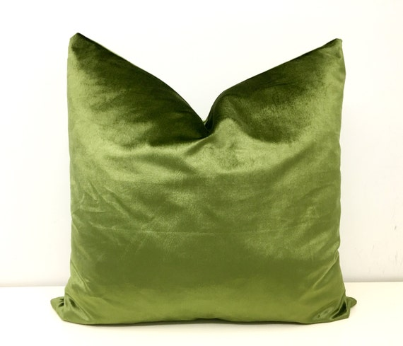 Olive Green Velvet Pillow Cover Throw Pillows by artdecopillow