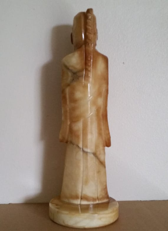 Vintage Carved Alabaster Chinese Figure Carved Alabaster