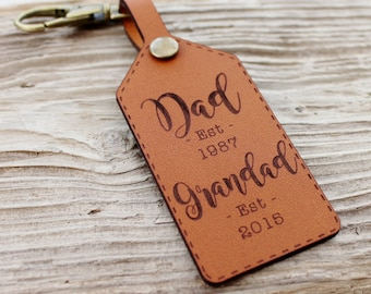 New Grandad Keychain Leather Gift Established, Customized Grandpa Keychain, Personalised Keyring, Fathers Day for Him