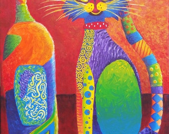 Cat and Bottle colorful, whimsical, wine, feline