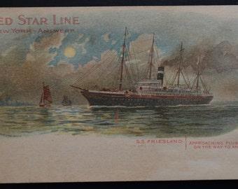 Red Star line Friesland  Postcard, Advertising Postcard, Ship Postcard, Private Mailing Postcard, 1800s Postcard