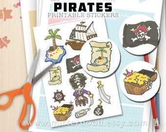 PIRATES Printable Sticker, Adventure Caribbean Pirate Parrot Treasure Hunt Ship, Cute Art Graphic Clipart Illustration, Instant Download