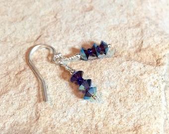 Purple drop earrings, Czech crystal beads, seed bead earrings, sterling silver dangle earrings, silver drop earrings, gift for her