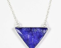 Sapphire Necklace, Blue Triangle Necklace, Sterling Silver Sapphire Necklace, Blue Sapphire Jewelry, Geometric Necklace September Birthstone