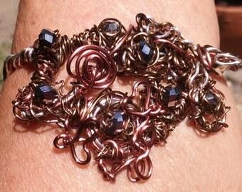 "Wire Jewelry, Bracelet, Handmade- Crystal, Heart, Spiral, Silver, Bronze, Copper, Design (L-  8.25"")"
