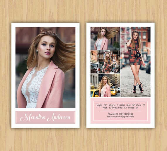 Fashion model comp card template modeling comp card ms for Free model comp card template psd