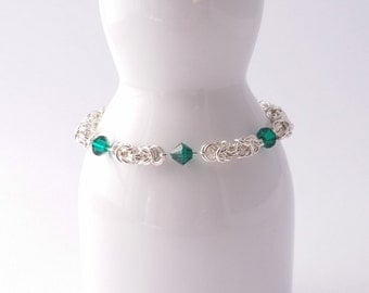 Green Swarovski and silver plated byzantine weave chain maille bracelet with rhinestone box clasp