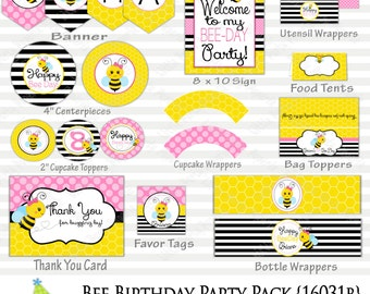 Bee Birthday Party Package | Bumble Bee Party | Printable Party Pack |  Design 16013B