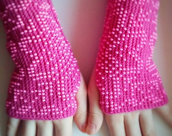 Very soft merino wool beaded fingerless gloves/arms warmers/fingerless mittens/wrist warmers for toddlers in raspberry/ready to ship