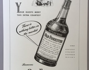 1942 Brown-Forman Distillery Print Ad for Old Forester Boubon Whisky World War II Era