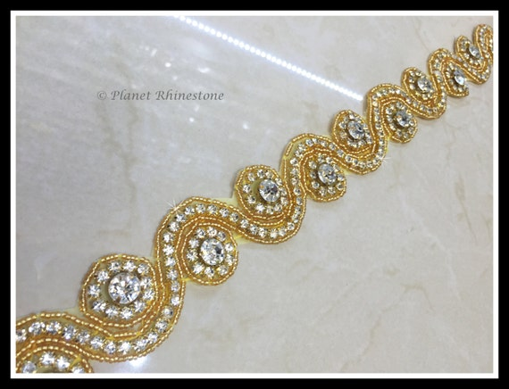 1 yards Iron/Sew on crystal trim/ Bridal Sash trim/ rhinestone belt/ Swarovski Shine #0502