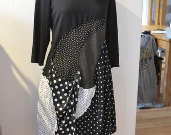 Upcycled black handkerchief panel dress, black & white polka dot, plus size UK 18, upcycled, recycled, eco, repurpose clothing