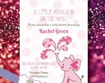 Elephant, Baby Shower, Invitations, damask, pink, digital download or printed