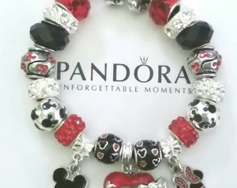 Authentic Pandora Charm Bracelet 925 Sterling Silver Mickey Minnie European Style Beads Charms