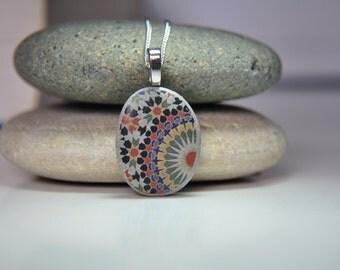 Beach pebble necklace, Beach rock jewelry, Moroccan tile pebble,  Painted pebble necklace, Painted beach stone, Image transfer beach pebble