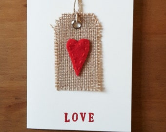 Hanging Heart Tag Card