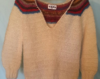 1970's hooded mohair pullover sweater, size small