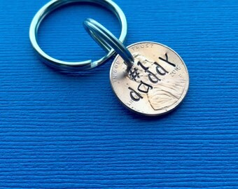 Gift for Daddy - Stamped Penny - Number 1 Daddy - Gift for Husband - #1 Daddy - Stamped Pennies - Custom Keychain - Dad Keychain