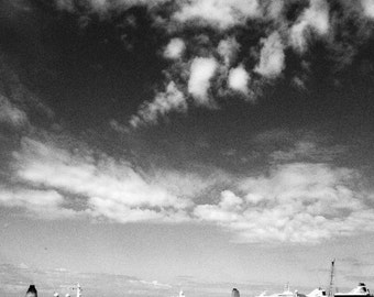 Tallink Ferry with Clouds Black & White Photographic Print in Mount