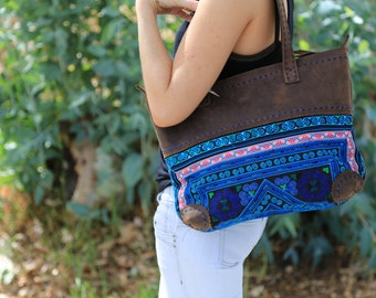 Reduced Price***  Large Leather Shoulder Tote - Blue