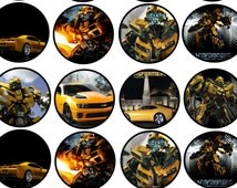 24 BUMBLEBEE TRANSFORMERS edible round cupcake fairy cake toppers icing rice paper wafer card  each topper approx 35mm