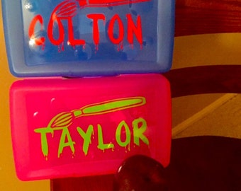 School Box with name decal, Name on school box, vinyl decal name school box, back to school gift, art box with name decal, name pencil box