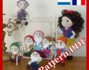 Crochet, Pattern, pattern, tutorial, Amigurumi, doll, snow white + 7 dwarfs