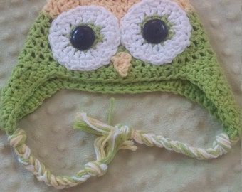 Crocheted baby owl hat