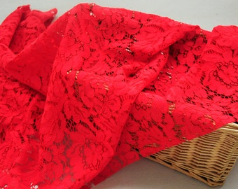 Red Lace Fabric By The Yard Bridal