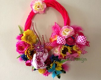 Oval Spring, Summer Wreath, Mothers Day Wreath, Flower Wreath, Wall Decoration, All Season Wreath, Home Decor, Summer Decor