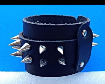 Spiked Leather Cuff Strap Punk Bracelet - Genuine Leather