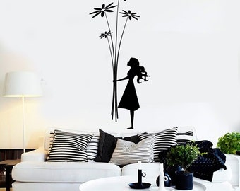 Wall Art Mural Cute Girl And Flowers Very Romantic Decor For Bedroom 2238di