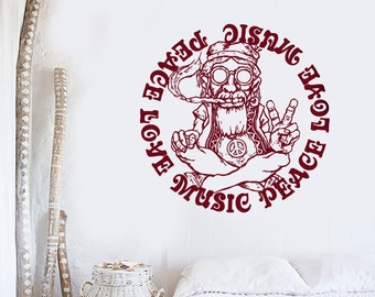 Wall Vinyl Decal Music Peace Love Smoking Hippie Retro Badge Grunge Rock'n'Roll Modern Home Decor (#1194dz)