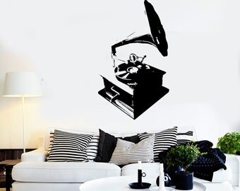 Wall Vinyl Music Gramophone Retro Songs Guaranteed Quality Decal Mural Art 1557dz