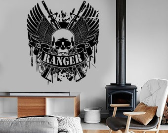 Wall Vinyl Army Soldier Ranger Rifle Guaranteed Quality Decal Mural Art 1662dz