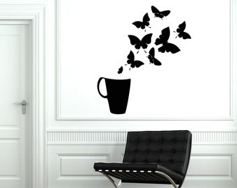 Wall Vinyl Decal Cup Of Coffee And Butterflies Positive Guaranteed Quality Decor 2026di