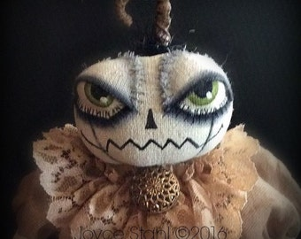 Joyce Stahl Enchanted Productions OOAK Halloween White Pumpkin Art Doll EHAG