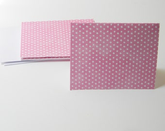 Pink and White Polka Dot Note Cards/ Stationary Set (6 cards with envelopes)