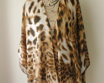 Sheer Animal Print Kimono Cover up