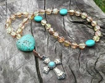 Prayer beads, turquoise prayer beads, Christian jewelry, women's gift