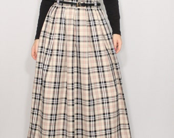 Beige plaid skirt Wool maxi skirt High waisted maxi skirt with pockets